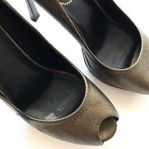 4bd5b3d5967 Yves Saint Laurent Shoes - YSL Palais 80 Horse Print Bronze Open Toe Pump  8.5